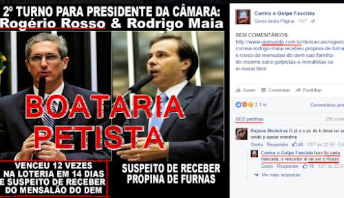 página da esquerda defensora de PTralha como Lula e Dilma serve para boataria petista 13-171