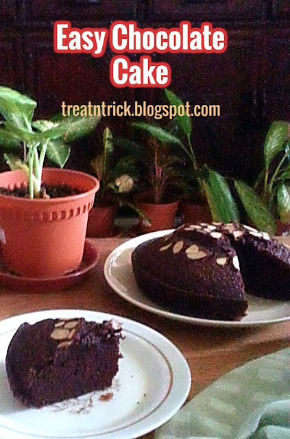 Easy Chocolate Cake Recipe @ treatntrick.blogspot.com