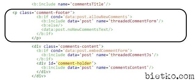 hoán đổi vị trí giữa các thẻ bình luận và nội dung bình luận