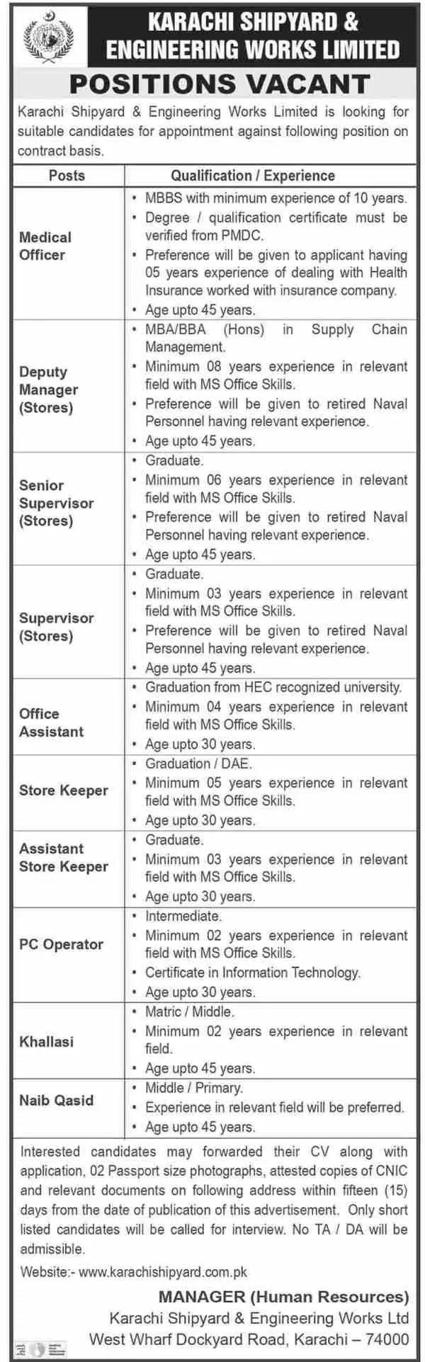 Medical Jobs at Karachi Shipyard and Engineering Works Limited KSEW | 2021