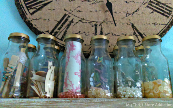 Upcycled bottle craft storage