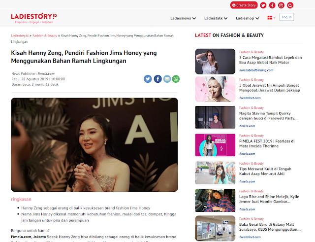 Kisah Hanny Zeng, Pendiri Fashion Jims Honey yang Menggunakan Bahan Ramah Lingkungan