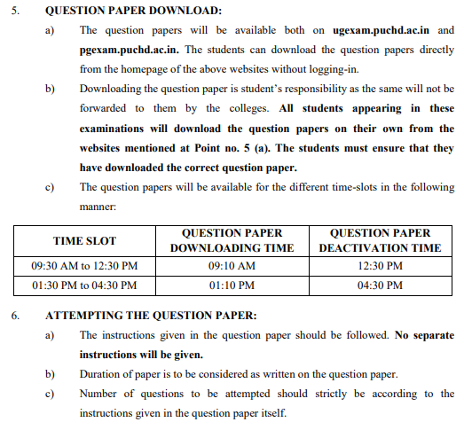 PUCHD Question Paper January February 2021 UG PG Exam