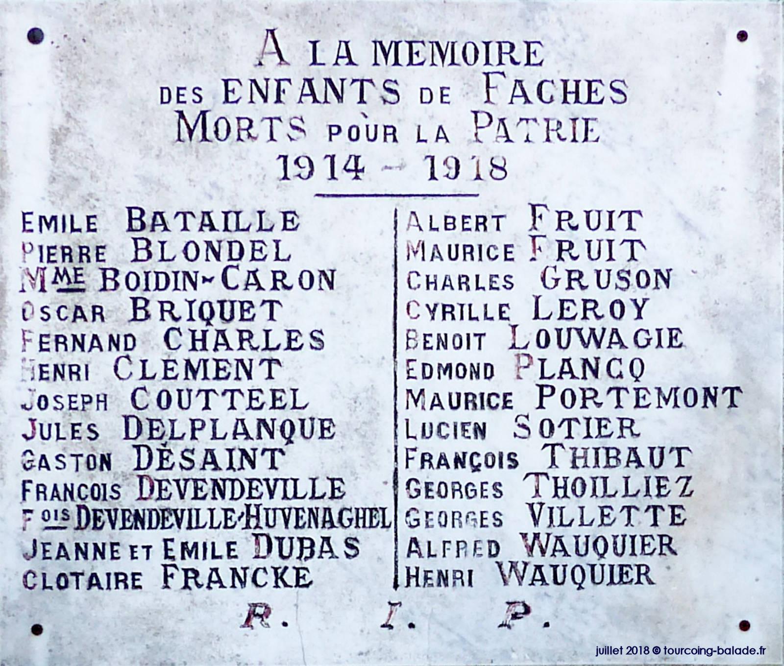 Monument Stèle Morts Faches 14-18
