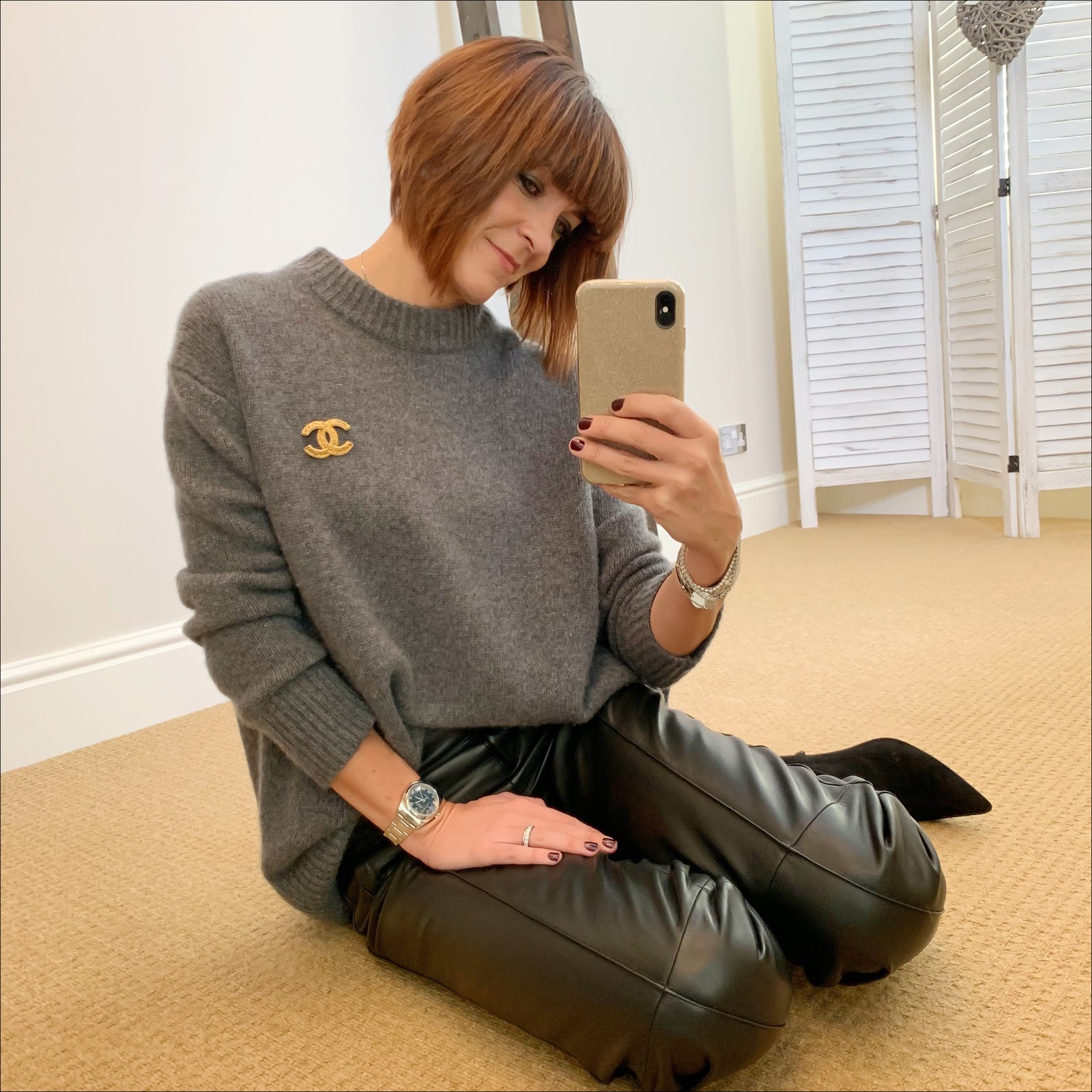 my midlife fashion, chanel vintage brooch, marks and spencer cropped straight leg leather trousers, zara cashmere turtle neck jumper, marks and spencer stiletto heel velvet sock boots