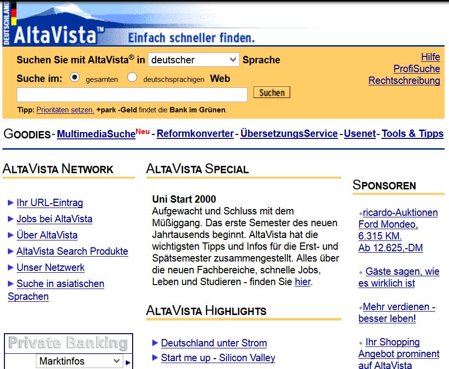 Die Suchmaschine AltaVista im Jahr 1999.