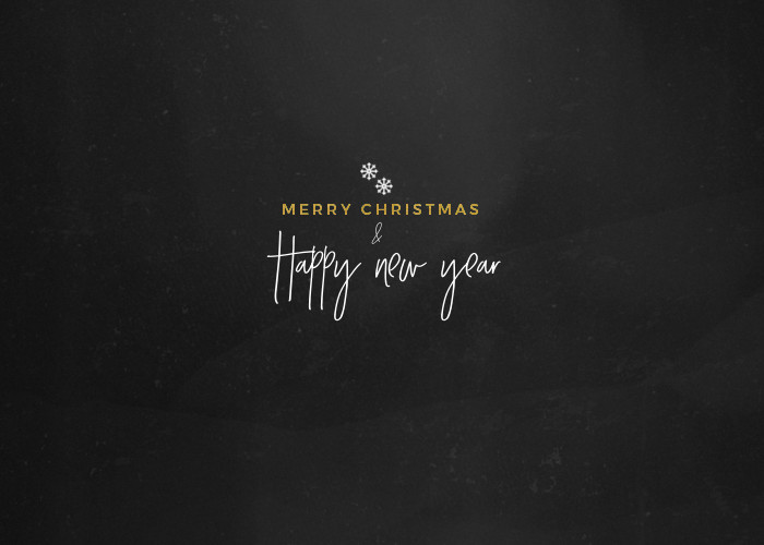 Merry Christmas and Happy New Year - Gold and Chalkboard E-card