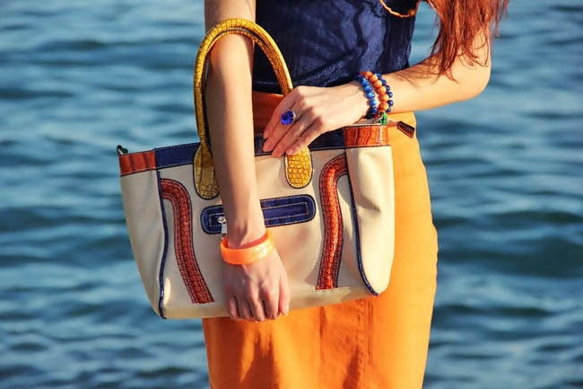 beige bag with multicolored croco details