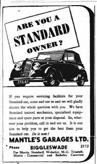 Mantles Garages Ltd, Bigglewade Chronicle Advert 30-09-1949