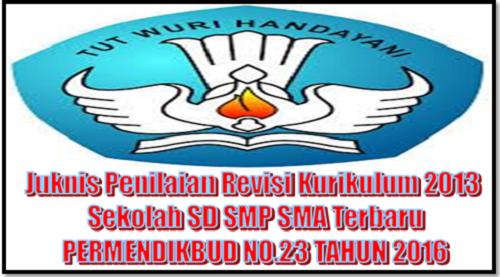 Juknis Penilaian Revisi Kurikulum 2013 Sekolah SD SMP SMA Terbaru