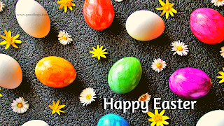 happy Easter Wishes,Easter eggs,flowers