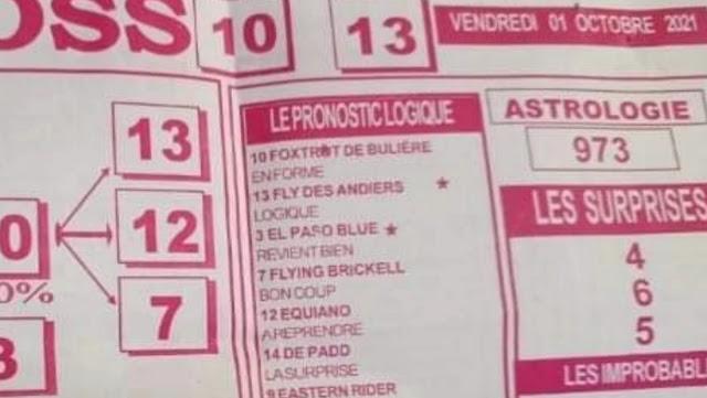 Pronostics quinté pmu vendredi Paris-Turf TV-100 % 01/10/2021