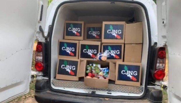 Detienen a integrantes del CJNG que repartían despensas, las despensas fueron aseguradas