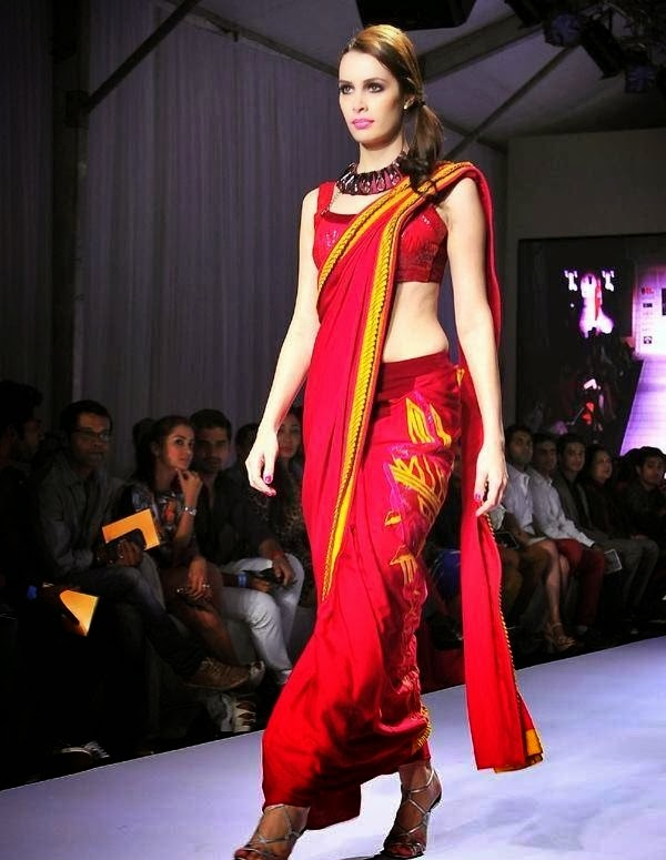 red with yellow saree