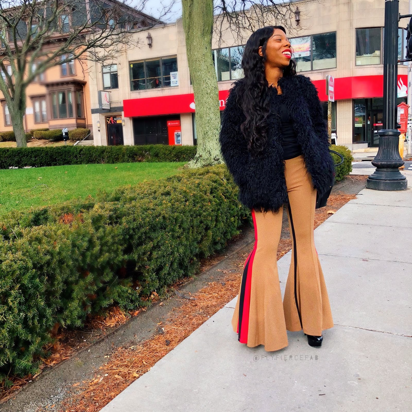 Fly Fierce Fab, Fringe Faux Fur, Fashion Nova Sasha Striped Pant