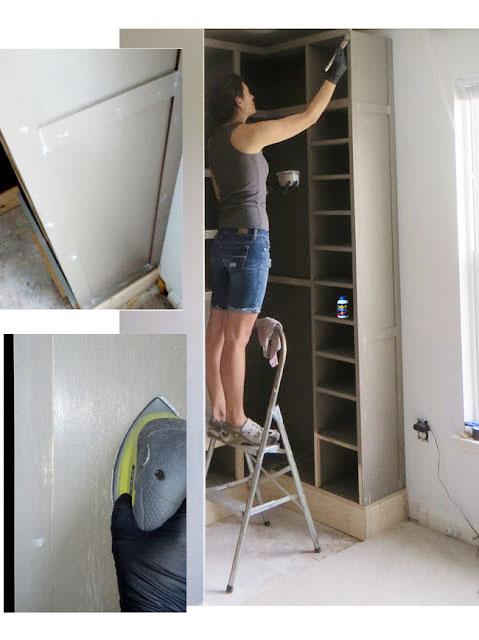 painting newly built closet shelves