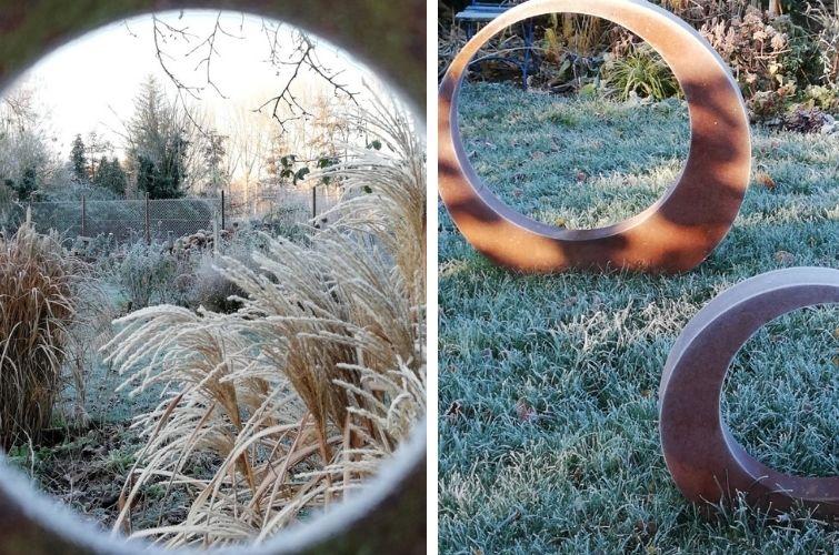Durchblick in den winterlichen Garten