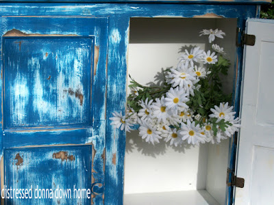 blue country cupboard, makeover, distressed furniture, primitive