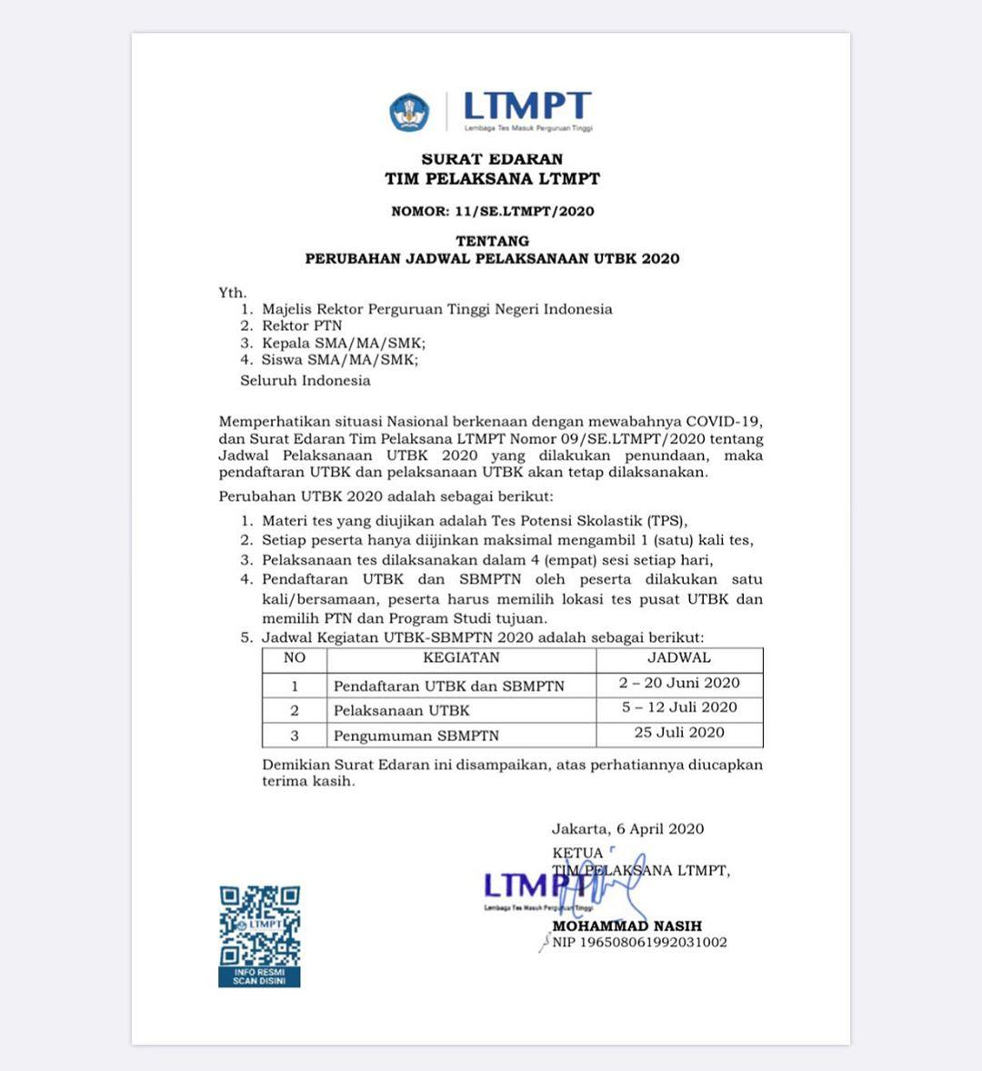 Surat Edaran Ltmpt untuk UTBK