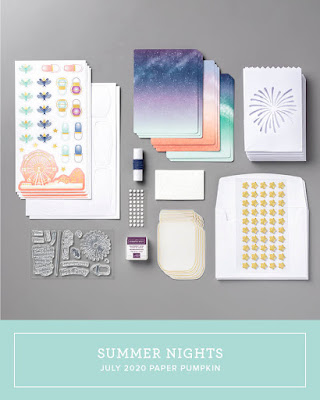 July 2020 Stampin' Up! Paper Pumpkin monthly subscription stamp kit, handmade cards, treat packaging