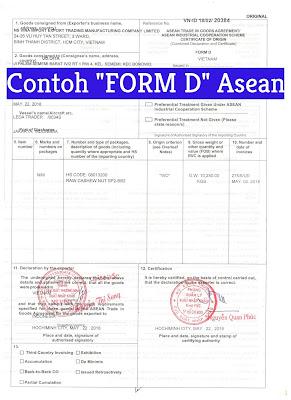 Contoh Form D-Certificate Of Origin Form D Untuk Kegiatan Ekspor dan Impor Barang Antar Negara Asean