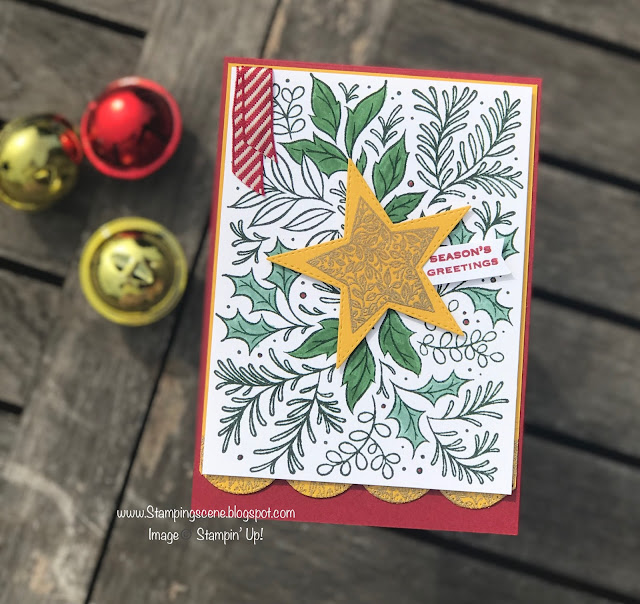 handmade christmas card using stampin up tidings and trimmings