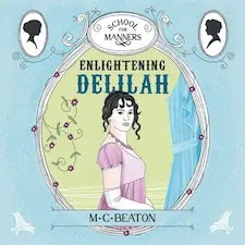 Audiobook cover for Enlightening Delilah. A lady with dark ringlets and a pink dress.