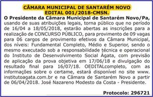 Edital Concurso Câmara Municipal de Santarém Novo 2018