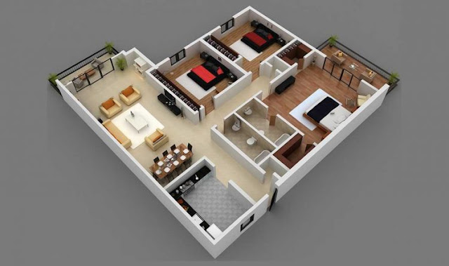 house design 3 rooms with a land area of ​​100m