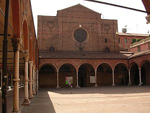 The portico and facade of the Basilica di Santa Maria dei Servi on Strada Maggiore in Bologna
