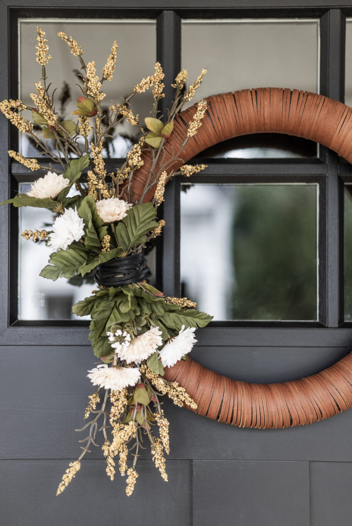 DIY Modern Leather Fall Farmhouse Wreath