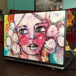 Whimsical Artsy Girl colorful Laptop Decal