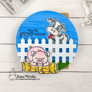 Farmyard Friends a card by Diane Morales| Moo and Oink Stamp Sets by Newton's Nook Designs