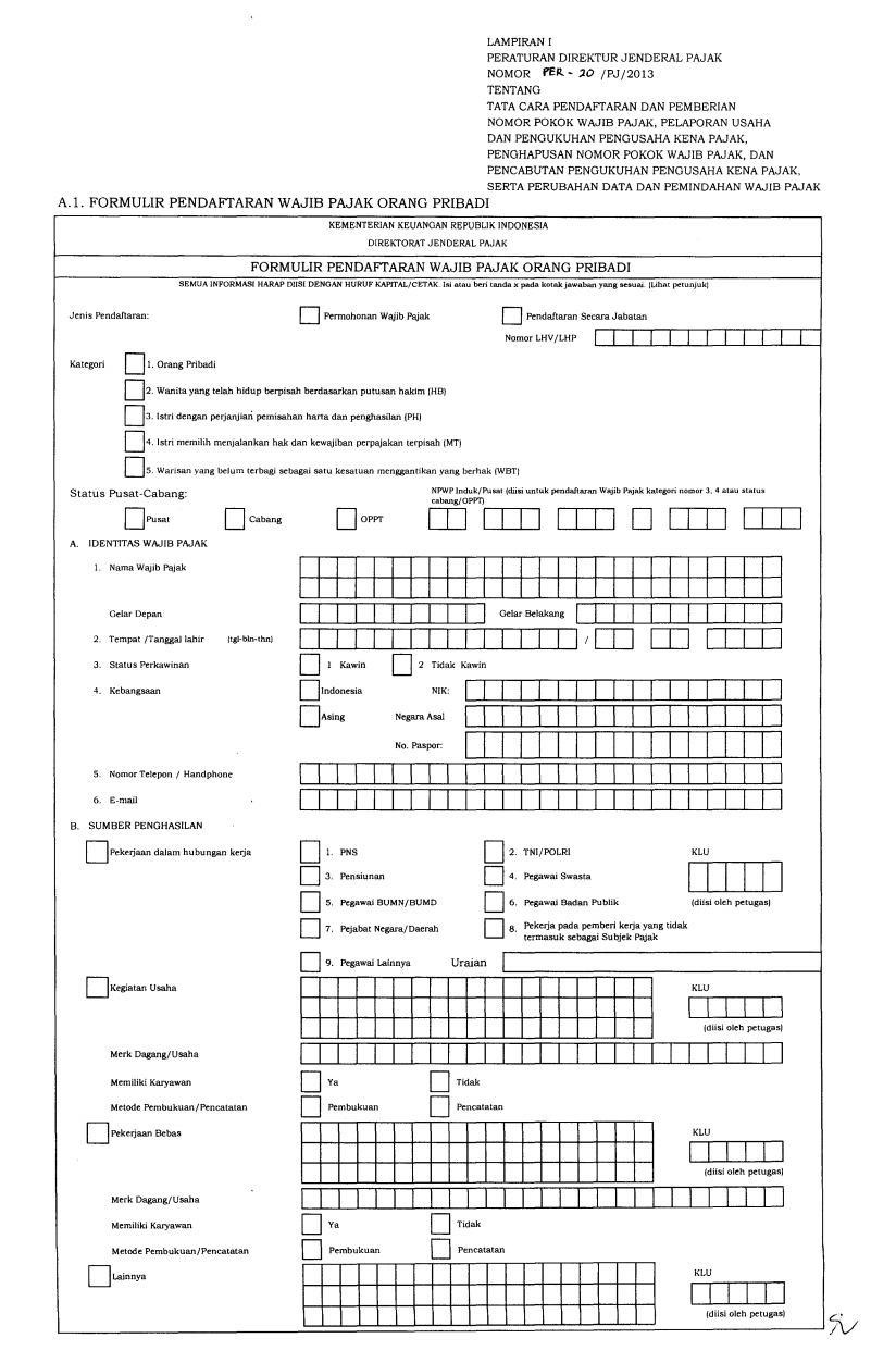Form daftar NPWP hal1