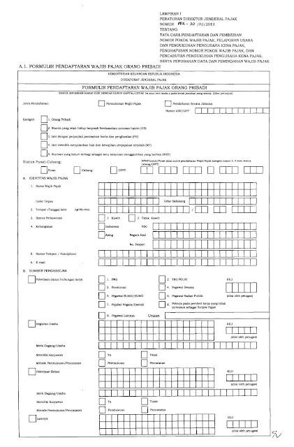 Form Pendaftaran NPWP OP Hal 1