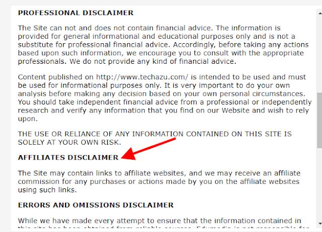 Affiliate Disclosure of Techazu