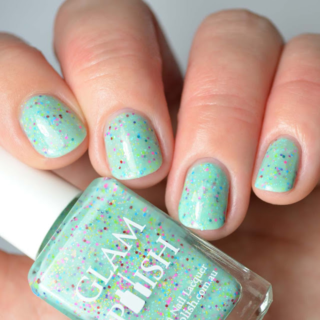 mint crelly nail polish with neon glitter
