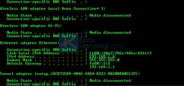 Setelah CMD terbuka, sekarang Anda ketikkan ipconfig kemudian tekan enter.