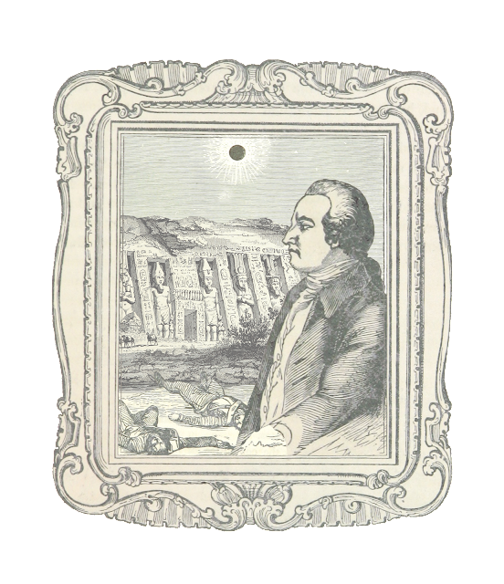 A vintage illustration of a man in period clothing with a white curled wig, standing under an eclipse and a hillside with Egyptian-appearing monuments, while corpses lie on the ground.