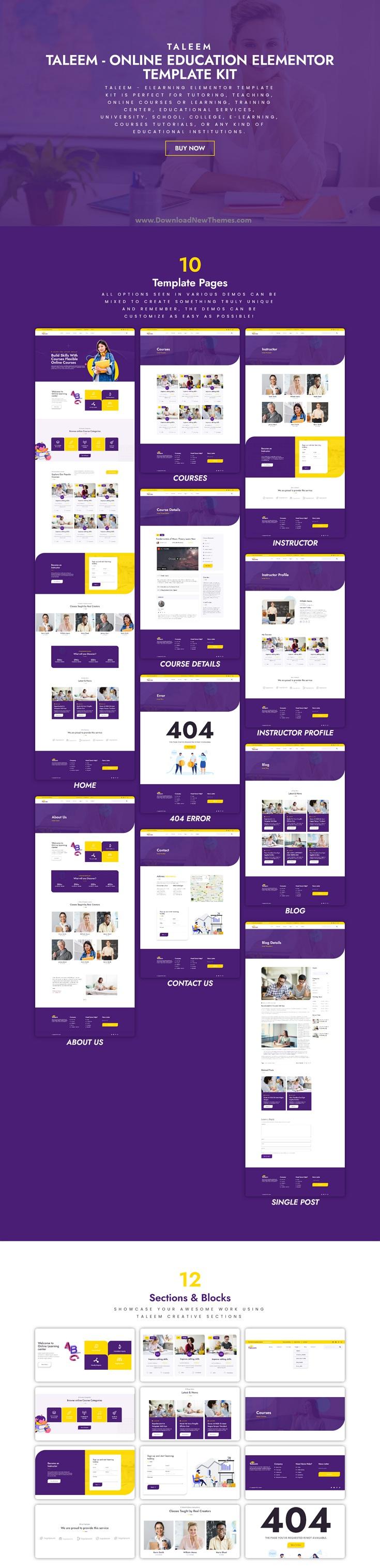 Taleem - Online Education Elementor Template Kit