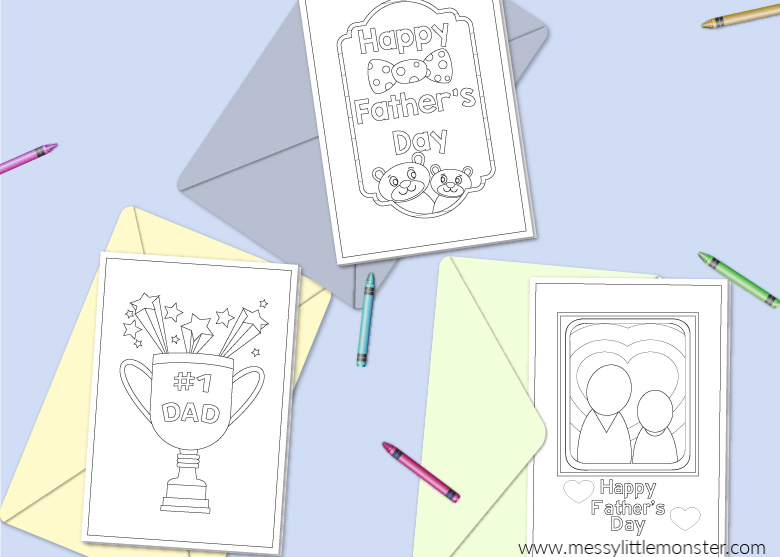 Printable Father S Day Cards To Color Messy Little Monster