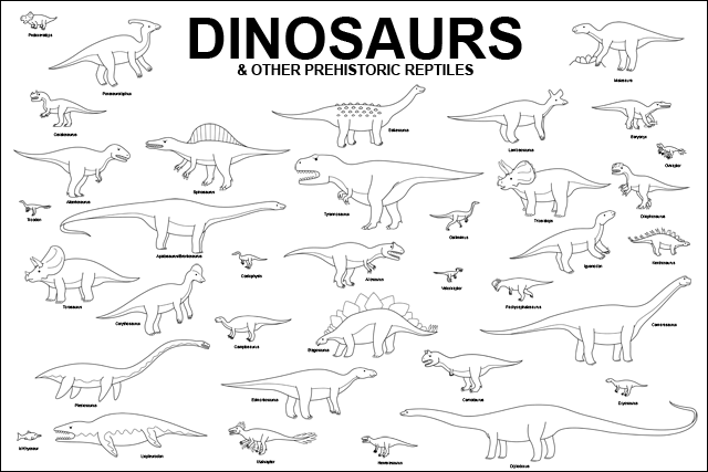 dinosaur coloring pages with names - photo#41