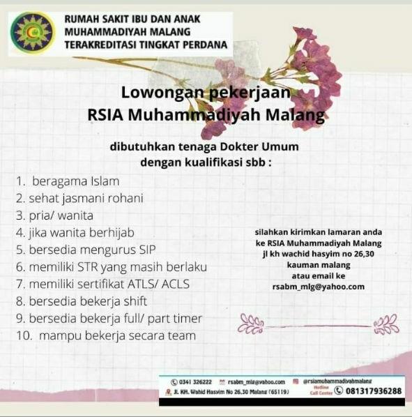 Loker Dokter RSIA Muhammadiyah Malang Jawa Timur