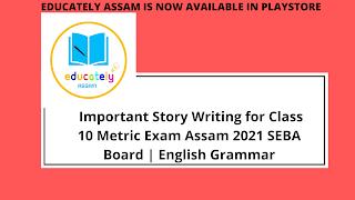 Important Story Writing for Class 10 Metric Exam Assam 2021 SEBA Board | English Grammar
