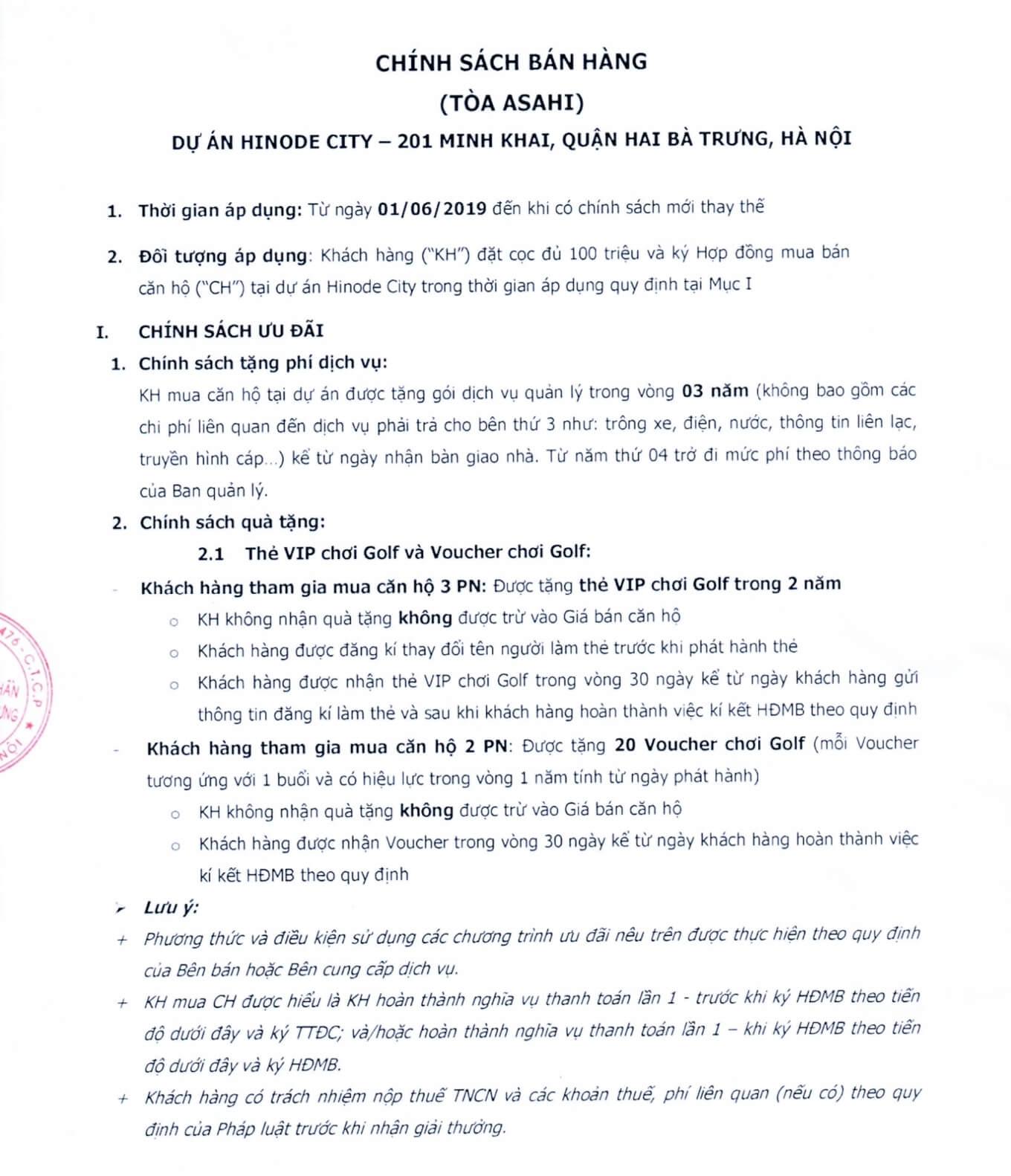 Chính sách bán hàng Hinode City tháng 7/2019
