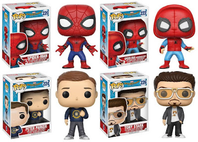 "Spider-Man Homecoming Pop! Marvel Vinyl Figure Series by Funko - Spider-Man, ""Homemade Suite"" Spider-Man, Peter Parker & Tony Stark"