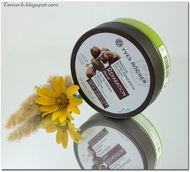 Экспресс-Маска для волос Питание и Восстановление Yves Rocher с Жожоба и Каритэ