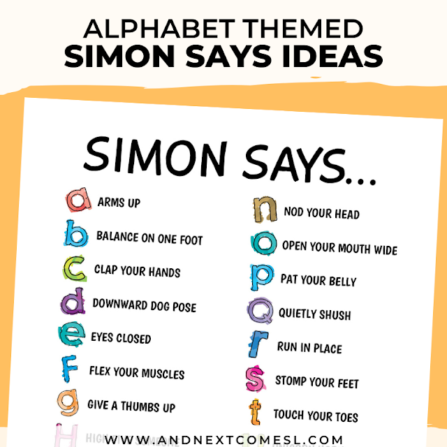 ABC themed Simon Says ideas for kids