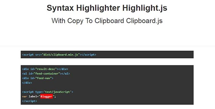 Syntax highlighter with copy to clipboard