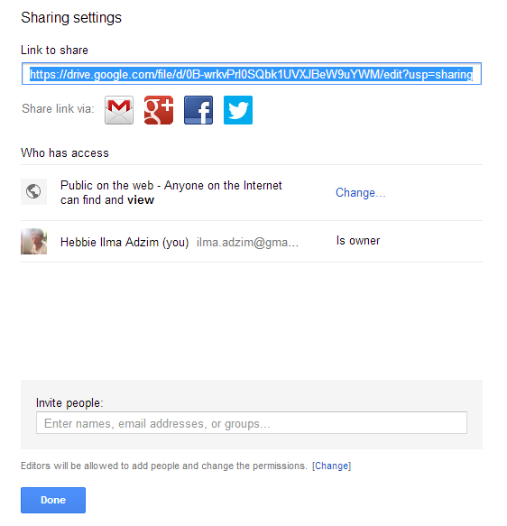 Kopi Link Google Drive Pengaturan Public